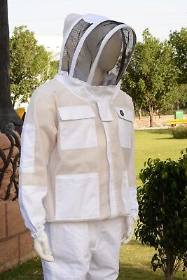 Ultra Ventilated 3 Layer Mesh Ventilated Beekeeping Jacket Cool Bee Hive Sz 2Xl