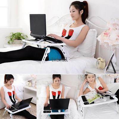 Adjustable Portable Laptop Notebook Desk Table Foldable Stand Bed Sofa W/Fan US+