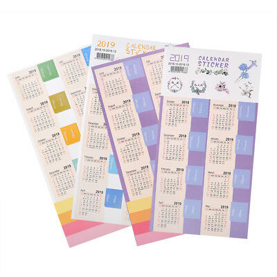 2019 New Year Calendar Time Stickers DIY Decorative Bullet Journal Stickers