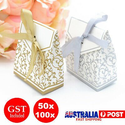 UP 100x Paper Candy Boxes Wedding Bomboniere Gift Bag Party Box Case Ribbon Bow