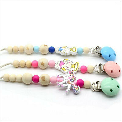 DIY 1pcs Wooden Baby pacifier chain unicorn angel Beaded Baby Feeding Clips