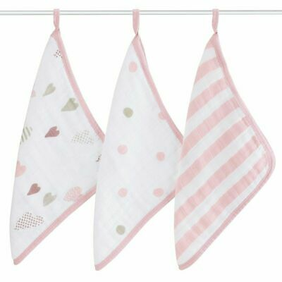 NEW aden + anais 3 Pack Muslin Washcloths - Heartbreaker