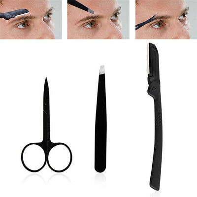 3Pcs Professional Stainless Steel Eyebrow Cutter Eyebrow Scissors Eyebrow Knife