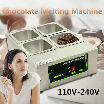 Chocolate Tempering Machine 8kg Commercial Electric Melter Maker W/4 Melting Pot