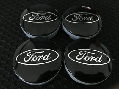 4X Ford 54mm BLACK Alloy Wheels Centre Caps Fits Most Models Focus Fiesta Mondeo