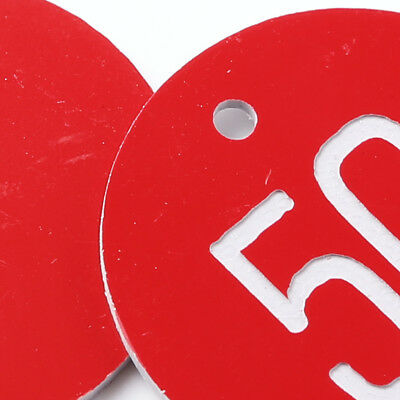 Numbered Tags w/ Key Ring Acrylic Id Tags for Organizing 50-100 Pieces Red 1-100