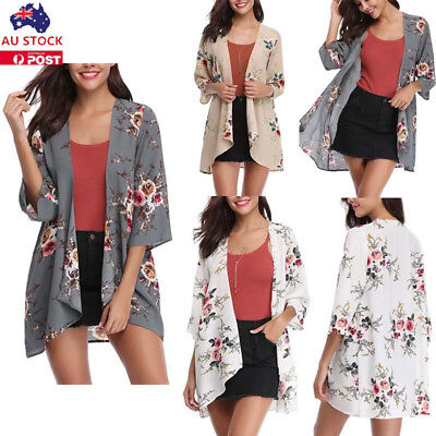 Plus Size Women Floral Loose Kimono Cardigan Summer Beach Cover Up Coat Blouse