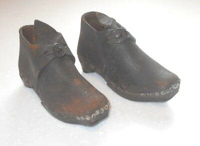 ANTIQUE c1850s Childs Lancashire Clogs Leather With Wood and Iron Soles Shoes