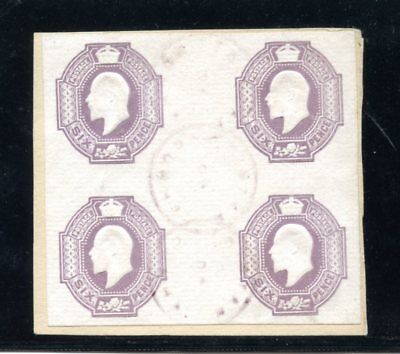 TRISTAN DA CUNHA 1908 block of 4 x KEVII 6d embossed postal stationery stamp