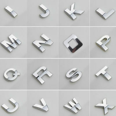 A-Z Alphabet Letters Car Sticker Self Adhesive Auto Badge Emblem 3D Chrome 25mm
