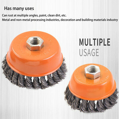 """3"""" 4"""" 100mm Wire Twisted Knot Cup Brush M14 Thread 4-1/2 Grinder Rust Removal"""