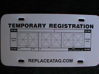30 Day Temporary Tag Replacement-Blank Vehicle Registration Tag Replacement
