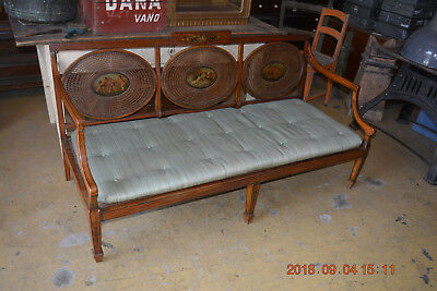 Satinwood settee  sofa  Chaise wickerwork  with  fine painting