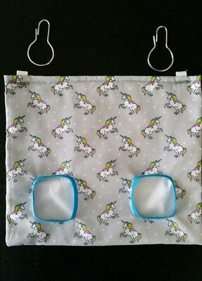 Fabric Hay bag grey unicorns - guinea pig, bunny
