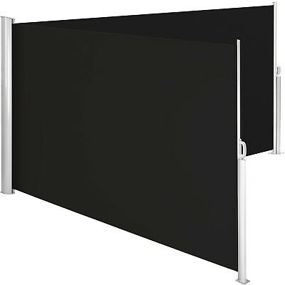Double sided awning wall retractable side sunshade windscreen windbreak alu blac