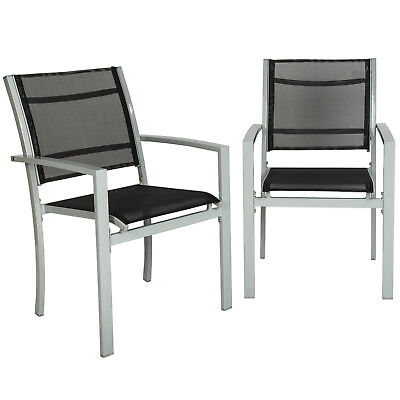 Set of 2 or 4 Metal garden chairs outdoor camping patio furniture mesh grey