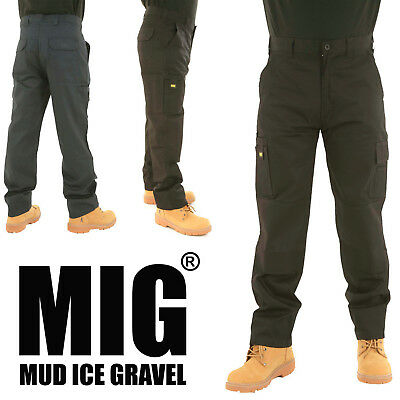 MIG Mens Cargo Combat Work Trousers with Multi Pockets & Knee Pads Pockets - MIG