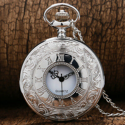 Retro Silver Case Mens Womens Quartz Pocket Watch Roman Number Necklace Chain