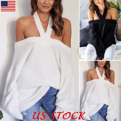 Women's Autumn Off Shoulder Halter Neck Tops Winter Warm Blouse Sweater Pullover
