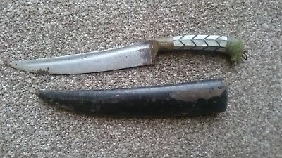 Antique Indian Dagger Knife With Jade Mother Of Pearl Hilt