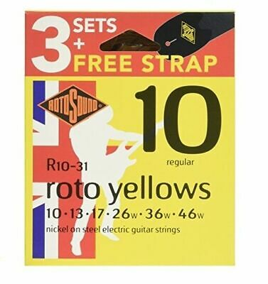 Rotosound Nickel Plated Electric Guitar Strings 3 Sets & Free Strap 10-46