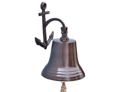 "Copper Finish Solid Aluminum Ship Bell 11"" w/ Anchor Bracket Hanging Wall Decor"