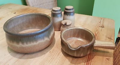Denby Brown Romany Salt & Pepper Cruet Set Mustard Pot Gravy Sauce Boat & Bowl