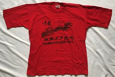 988599a6d Vintage Mens Medium I CLIMBED THE GREAT WALL OF CHINA T-Shirt Red Cotton