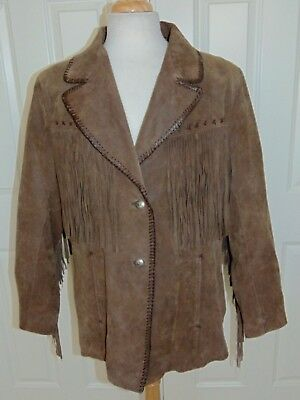 Women's  Cripple Creek  Suede Leather  Fringed  Whip Stitched Jacket  3Xl