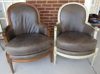 Pair of Vintage Baker Furniture Mid-Century Barrel Back Club Chairs Leather