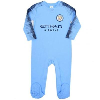 Manchester City Fc Man Baby Sleepsuit Official Football Kit Babygrow