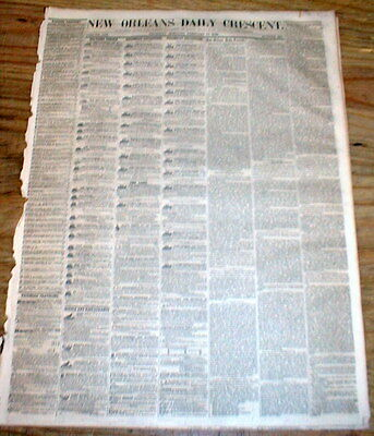 Rare original 1856 NEW ORLEANS CRESCENT newspaper LOUISIANA w illust DENTIST ADS