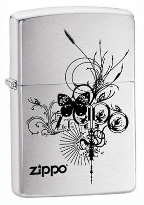 Zippo Windproof Brushed Chrome Butterfly Lighter, 24800, New In Box Great Gift