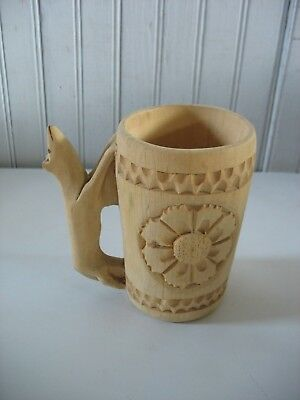 Vintage 1980s Polish Carved Wooden Cup / Drinking Vessel Natural Wood w label