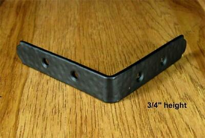 "Rustic, hammered Table Edge Corner Brackets - 3/4"" high  (Incl Rustic head screw"