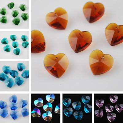 20pcs 10X5mm Heart Faceted Crystal Glass Loose Beads Hanging Drop Prism Pendant