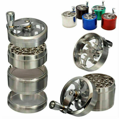 4 Layers Grinder Window Zinc Alloy Hand Crank Herb Crusher Tobacco Smoke 50mm UK