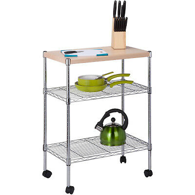 Rolling Cart With Wood Top Utility Chrome Natural Wheels 2 Tier Shelves Steel