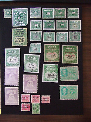 USA Deep Back of the Book Assortment: Wine, Motor Use and Tobacco Sale Stamps