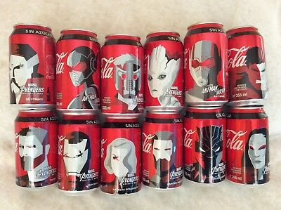 12 COCA COLA AVENGERS CANS FROM MEXICO - EMTY CANS MINT CONDITION ! NEW Complete
