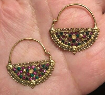 17th Century Rare Antique Islamic Persian 22k Solid Gold Earrings Museum PC