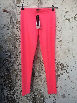 Neon Pink Wet Look Leggings Club Dance Cyber Goth Punk