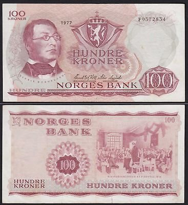 Norwegen - Norway 100 Kroner 1977 Pick 38h VF (3)   (21602