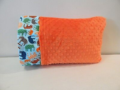 NWT Elephant Orange Teal MinkyToddler Pillowcase 12x16 Boy Jungle Zoo Safari