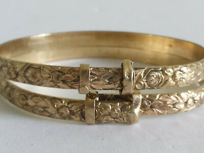 Pair of Antique Victorian Rolled Rose Gold Filled Floral Child Bracelet