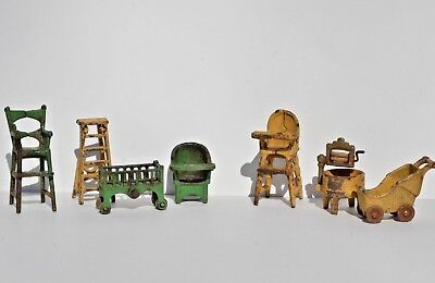 Antique Cast Iron Kilgore 7 Doll House Furniture Dollhouse Miniature Toy 1930