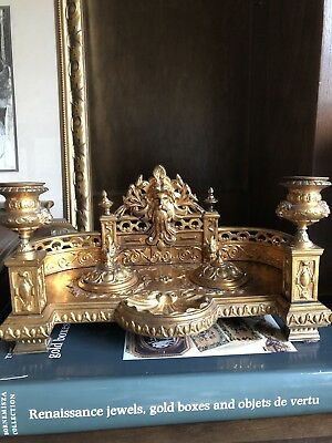 Antique GRAND LARGE FRENCH BRONZE GOLD GILT ORMALU INKWELL STAND CANDLEHOLDER