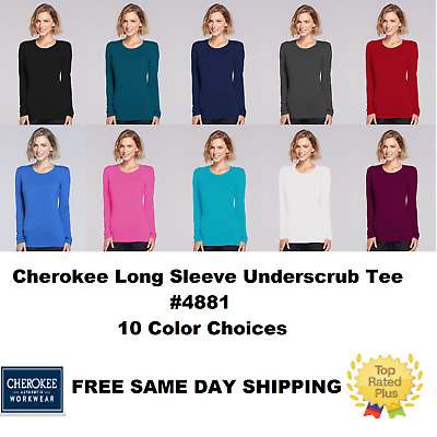 Cherokee Long Sleeve Underscrub Knit Tee Top 4881 ~FREE SAME DAY Shipping  ~NEW~