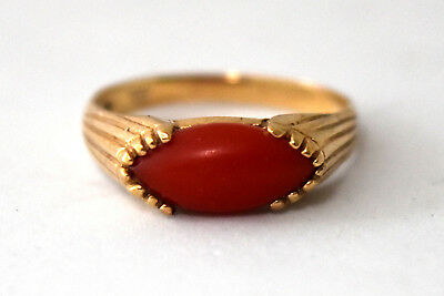 Antique Victorian 10K Solid Gold and Natural Untreated Coral Ring Size 6.5