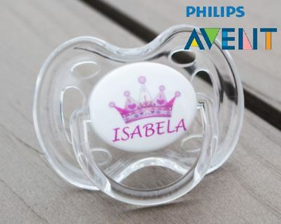PHILIPS AVENT PERSONALISED DUMMY, SOOTHER, PACIFIER, 0-6mths, PINK CROWN 1